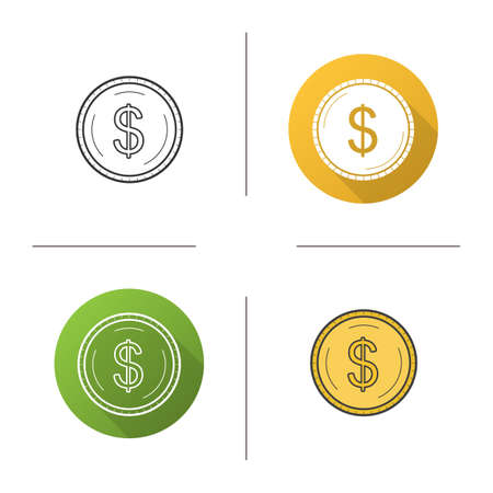 us coin: Gold dollar coin icon. Flat design, linear and color styles. Isolated vector illustrations