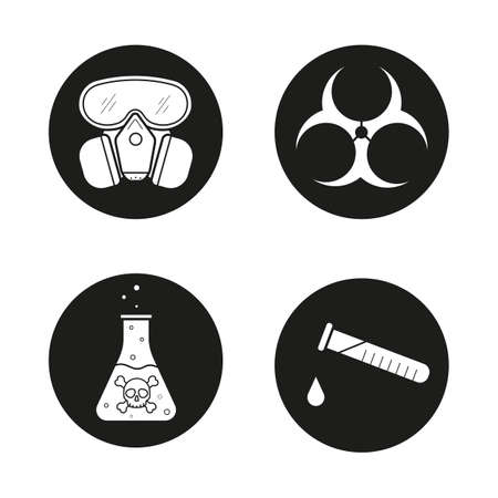 poison symbol: Chemical industry icons set. Gas mask, boiling poison liquid, chemical test tube and biohazard danger symbol. Vector white illustrations in black circles