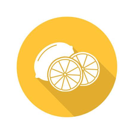 Lemon flat design long shadow icon. Vector silhouette symbol