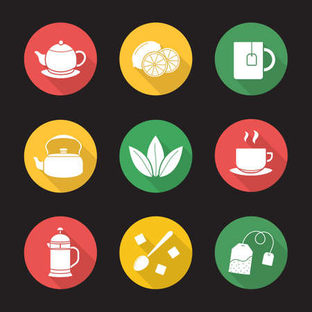 Tea flat design long shadow icons set. Cutted lemon, steaming cup on plate, brewer, teapot, loose tea leaves, teabag, refined sugar cubes with spoon, kettle, mug. Vector symbol