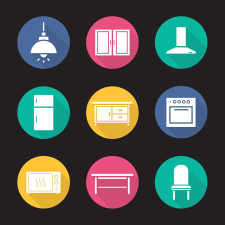 fridge lamp: Kitchen interior flat design long shadow icons set. Ceiling lamp, cabinet, range hood, fridge, kitchen counter, stove, microwave oven, classic table and chair. Vector symbols Illustration