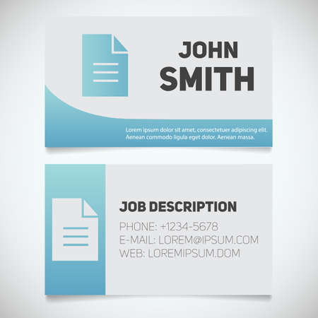 writer: Business card print template with document logo. Easy edit. Editor. Writer. Stationery design concept. Vector illustration