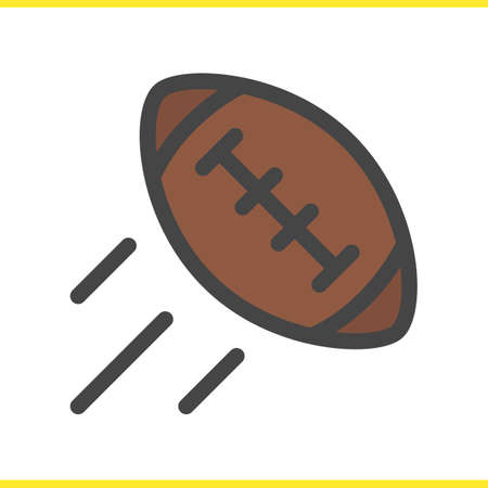 American football ball color icon. Flying rugby ball. Isolated vector illustration