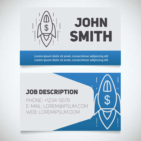 career coach: Business card print template with spaceship logo. Easy edit. Startup manager. Business coach. Goal achievement symbol. Stationery design concept. Vector illustration Illustration