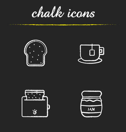 toasted bread: Breakfast items chalk icons set. Toaster, covered honey pot, teacup on plate, toasted bread illustrations. Isolated vector chalkboard drawings