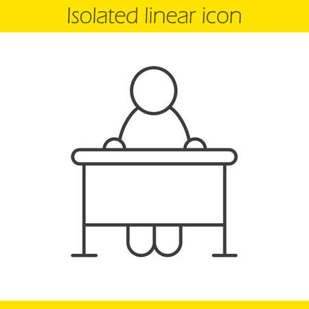 School student linear icon. Classroom desk thin line illustration. School pupil contour symbol. Vector isolated outline drawing