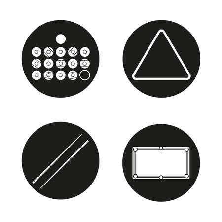 snooker cues: Billiard icons set. Balls, triangle, cues and table. Pool equipment. Snooker accessories. Vector white silhouettes illustrations in black circles