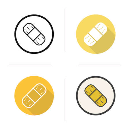 band aid: Plaster icon. Flat design, linear and color styles. Adhesive band aid. Isolated vector illustrations