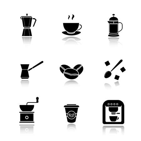 sugar cube: Coffee drop shadow black icons set. Espresso machine, classic coffee maker, steaming mug on plate, french press, turkish cezve, spoon with sugar cubes, hand mill. Isolated vector illustrations