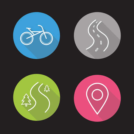 Bike riding flat linear long shadow icons set. Map pinpoint, forest road, highway and city bicycle. Vector line symbols