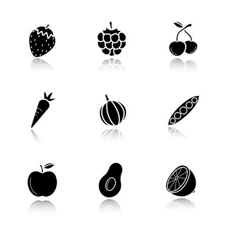 cast: Fruit, berries and vegetables drop shadow black icons set. Strawberry, raspberry, cherries, carrot, garlic, open pea pod, apple, avocado, lemon. Isolated vector illustrations Illustration