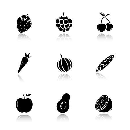 Fruit, berries and vegetables drop shadow black icons set. Strawberry, raspberry, cherries, carrot, garlic, open pea pod, apple, avocado, lemon. Isolated vector illustrations Illustration
