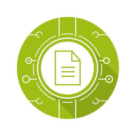 Web document flat design long shadow icon. Digital file. Vector green silhouette symbol