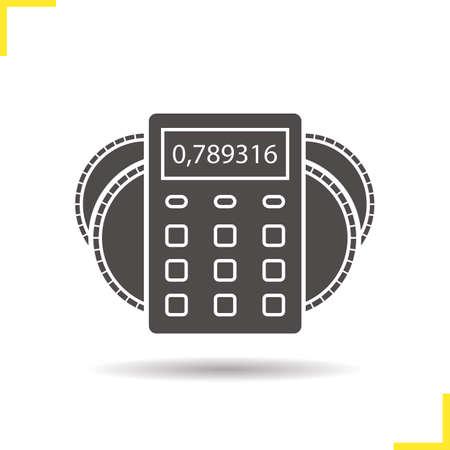 Rechner mit Münzen-Symbol. Finanzielle Planung. Schlagschatten Silhouette Symbol. Wirtschaft und Rechnungswesen. Negative Raum. Vector isolierte Darstellung