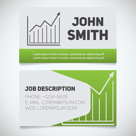 stockbroker: Business card print template with growth chart logo. Easy edit. Marketer. Stockbroker. Stationery design concept. Vector illustration Illustration