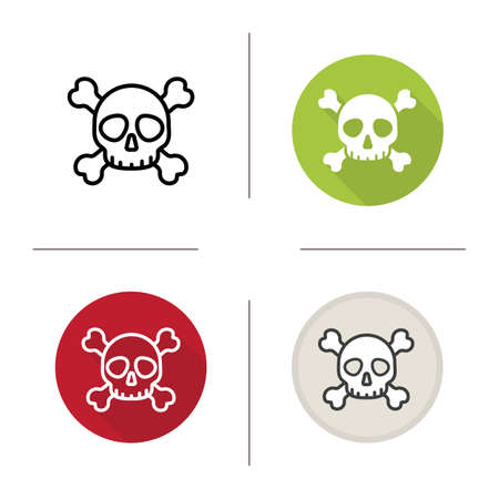 poison symbol: Skull with crossbones icon. Flat design, linear and color styles. Death symbol. Poison warning sign. Isolated vector illustrations Illustration