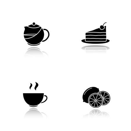 Tea drop shadow black icons set. Teapot infuser, chocolate cake with cherry on plate, lemon slices, steaming cup. Isolated vector illustrations Illustration
