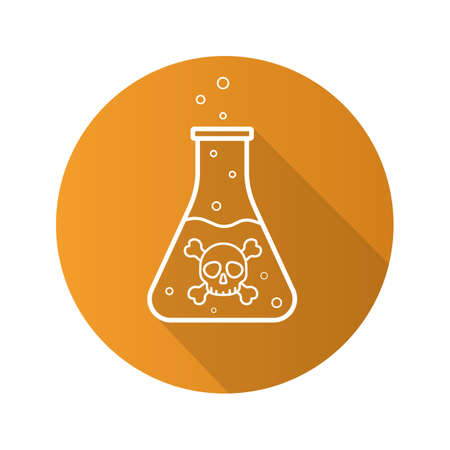 poison symbol: Poison bottle flat linear long shadow icon. Boiling poisonous liquid with crossbones and bubbles. Vector line symbol