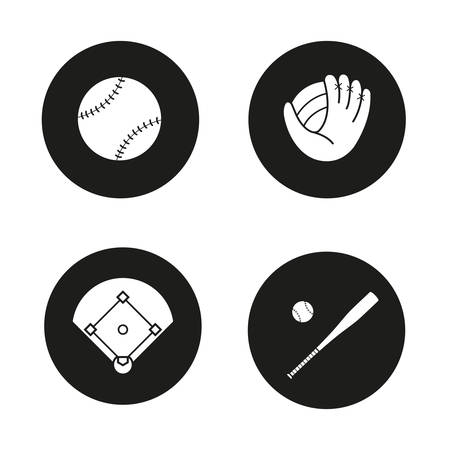 infield: Baseball icons set. Ball, mitt, field and bat. Softball accessories. Vector white illustrations in black circles Illustration
