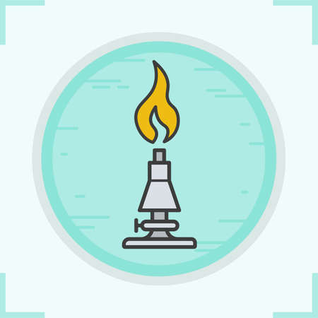 Chemical lab burner color icon. Isolated vector illustration Illustration
