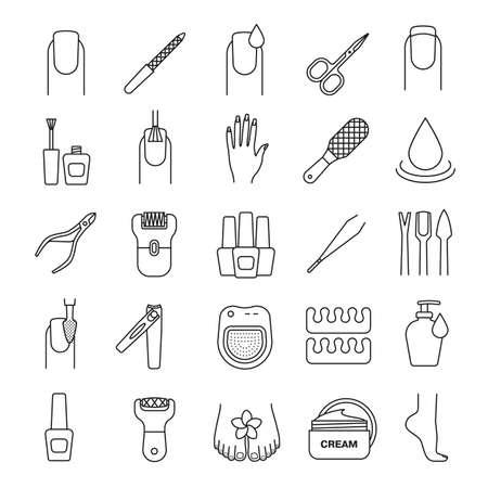 epilator: Manicure and pedicure linear icons set. Nail polish, scissors, epilator, spa bath, soap, cream, tweezers, foot rasp, cuticle nipper. Thin line contour symbols. Isolated vector illustrations