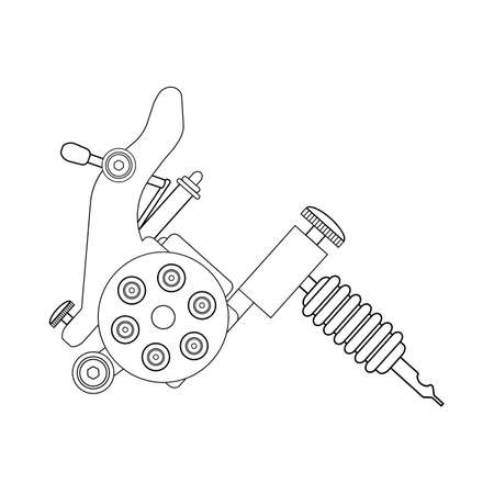 Tattoo machine linear drawing. Thin line illustration. Contour symbol. Vector isolated outline drawing