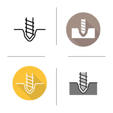Drilling icons. Flat design, linear and color styles. Rotating mining drill bit. Isolated vector illustrations Illustration