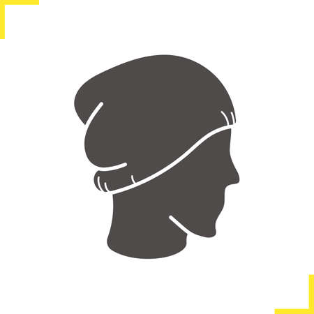 ski wear: Winter hat icon. Silhouette symbol. Ski cap on mannequins head. Negative space. Vector isolated illustration