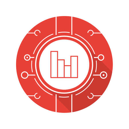 Digital charts flat design long shadow icon. Analysis. Statistics. Vector red silhouette symbol
