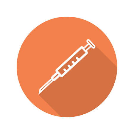 Syringe with needle icon. Flat linear long shadow symbol. Vector line symbol Illustration