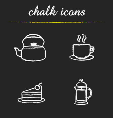 Tea and coffee chalk icons set. Kettle, steaming cup on plate, chocolate cake piece, french press illustrations. Isolated vector chalkboard drawings