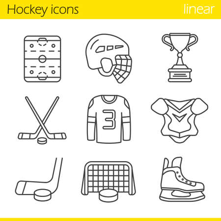 Hockey equipment linear icons set. Helmet, puck and sticks, shirt, shoulder pad, gate, skate, winner's trophy, hockey rink. Thin line contour symbols. Isolated vector illustrations
