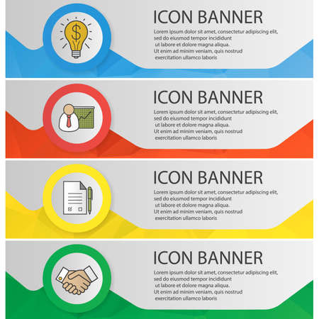 Business banner templates set. Easy to edit. Presentation with graph, signed contract, handshake, successful idea. Website menu items. Color polygonal web banner concepts. Vector 일러스트