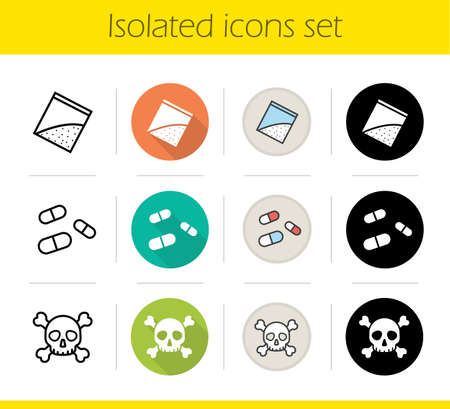 Drugs icons set. Flat design, linear, black and color styles. Skull and crossbones, pills and cocaine packet. Narcotics isolated vector illustrations