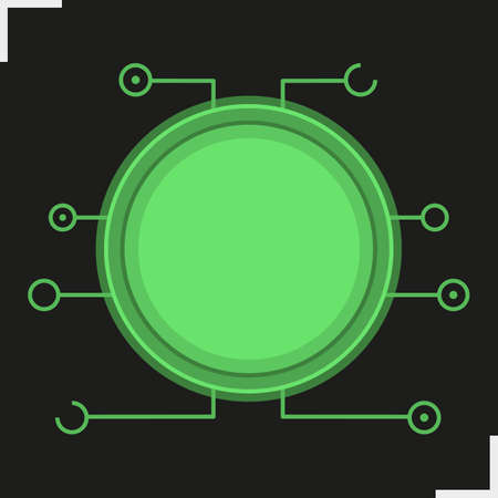 electronic circuit: Digital microchip frame. Green color futuristic chip set icon. Sci-fi user interface concept. Cyber technology background. Computer circuit board. Isolated vector illustration