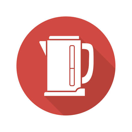 Electric kettle flat design long shadow icon. Vector silhouette symbol