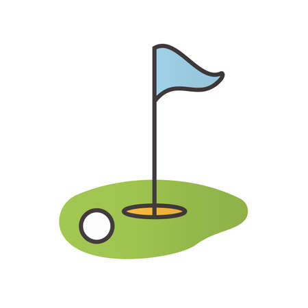 Golf course color icon. Ball and flagstick in hole. Isolated vector illustration