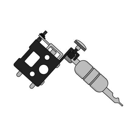 Maszynka do tatuażu. Ilustracja wektorowa na białym tle kolor. Rysunek pistolet tatuaż