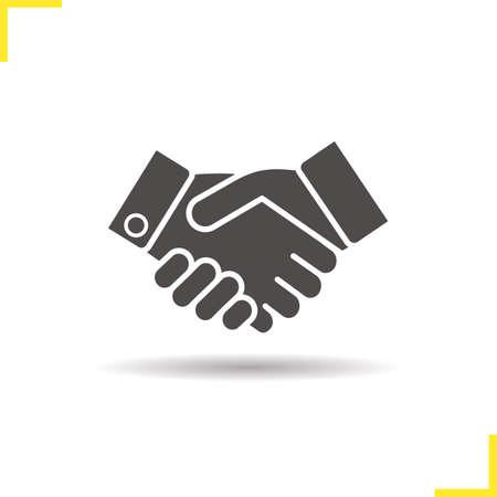 ハンドシェイクのアイコン。シャドウ パートナーシップ シルエット シンボルをドロップします。業務契約。握手。否定的なスペース。分離したベ  イラスト・ベクター素材