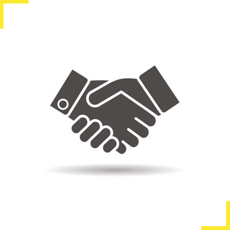 Handshake icon. Drop shadow partnership silhouette symbol. Business agreement. Shaking hands. Negative space. Vector isolated illustration 版權商用圖片 - 74449781