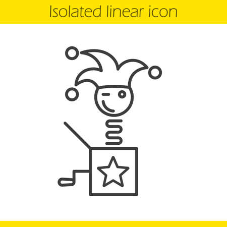 Jack in the box linear icon. Winking clown thin line illustration. Jester toy. Contour symbol. Vector isolated outline drawing Illustration