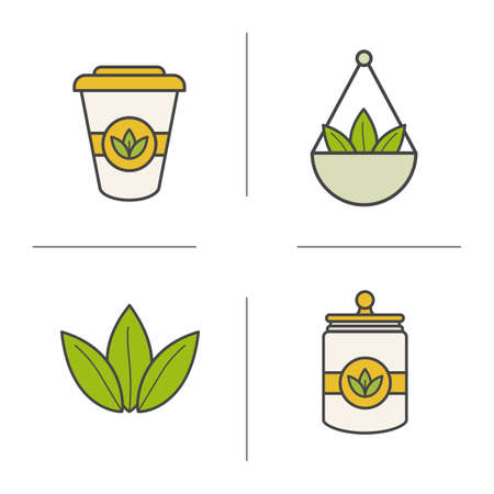 Tea color icons set. Loose tea leaves in bulk, disposable paper cup, container. Isolated vector illustration Illustration