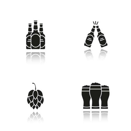 Beer drop shadow black icons set. Hop cone, beer bottles and glasses. Isolated vector illustrations