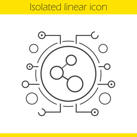 Network connection linear icon. Thin line illustration. Contour symbol. Cyber technology concept. Vector isolated outline drawing