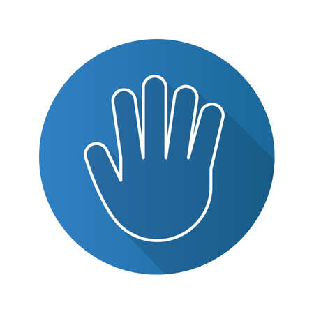 Hand flat linear long shadow icon. Palm. Greeting and high five gesture. Vector line symbol 向量圖像
