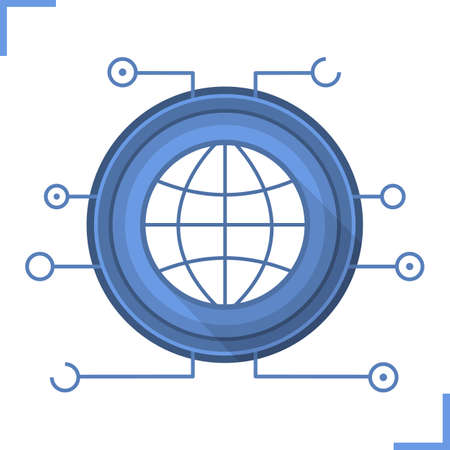 globe logo: Global network communication icon. Flat design long shadow symbol. Globe in microchip pathways. Vector silhouette symbol