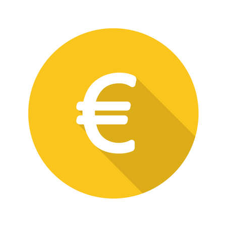 Euro Currency Sign Flat Design Long Shadow Icon European Union