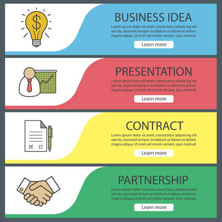 Business banner templates set easy to edit presentation with business banner templates set easy to edit presentation with graph signed contract wajeb Image collections