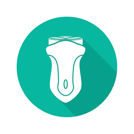 Shaver flat design long shadow icon. Electric razor. Vector silhouette symbol