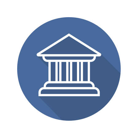 courthouse: Bank building flat linear long shadow icon. Courthouse. Vector line symbol